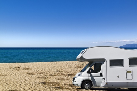 Camper on the beach Sardinia Italy