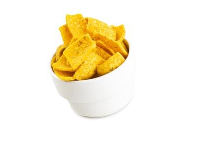 mais: Mais chips on the white  Stock Photo