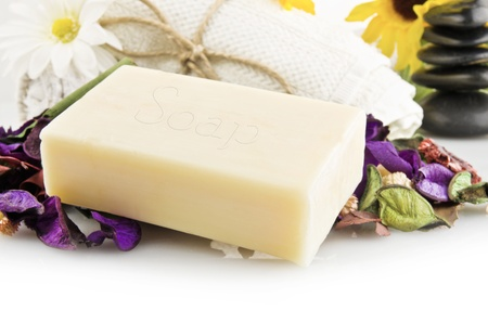 natural soap: natural soap with colored flowers Stock Photo