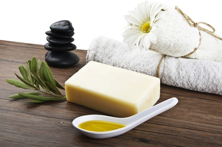 natural soap: soap with olive oil and leaf