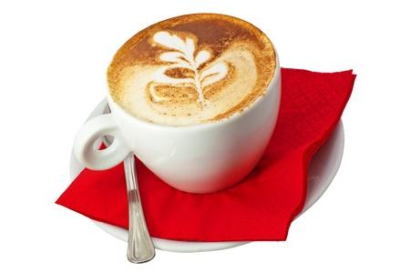 breackfast: cappuccino cup.coffee close up