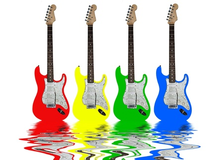 Electric guitar on the water reflex photo