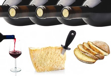 lambrusco: collage of Wine and Cheese