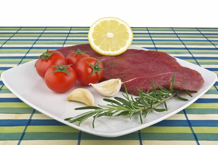 horse meat: raw  horse meat in the plate
