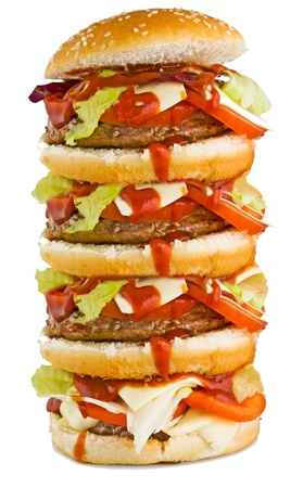 hamburger on the white background photo