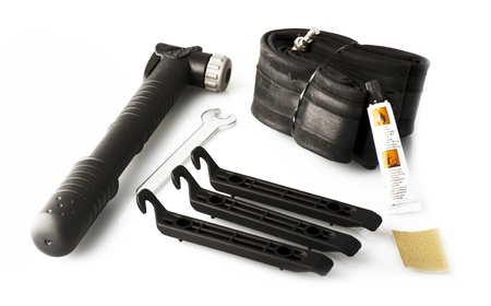 Bicycle roll rubbe, pump and accessory photo