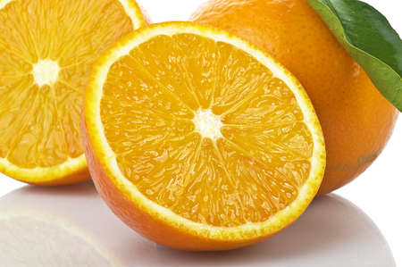 orange slice on the white photo
