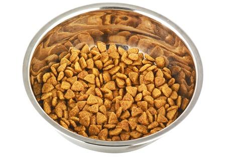 plato del buen comer: comida para perros aislados en blanco Foto de archivo