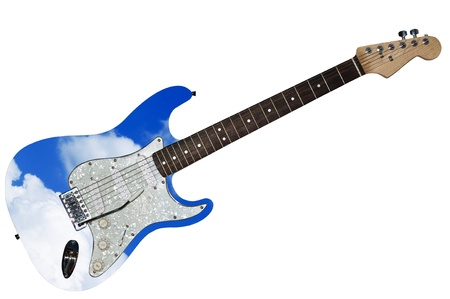 Electric guitar on the white photo