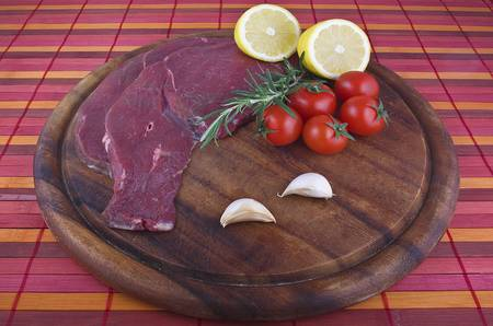 horse meat: raw  horse meat in the wood plate