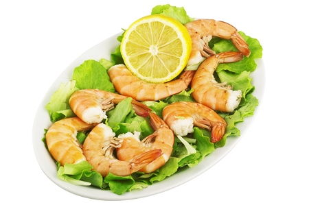 good cholesterol: shrimps cooked on the salsad in plate Stock Photo