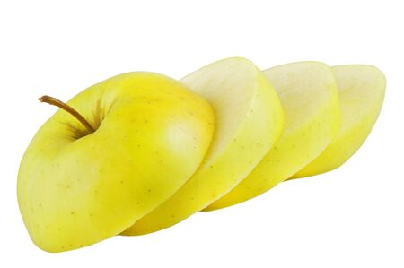 Apple slices, on white background photo