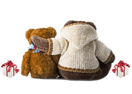 friend hug: Happy bear friends and gift Stock Photo