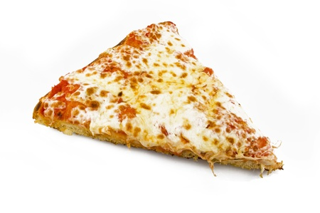 cheese slices: Tasty Italian pizza over white