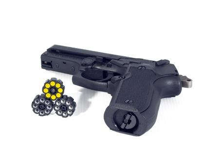 bb gun: Black steel air pistol isolated on white