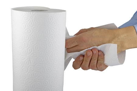 soft tissue: Paper roll dry the hands