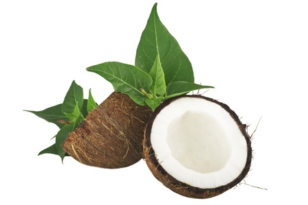 copra: Coconut with leaves on a white background