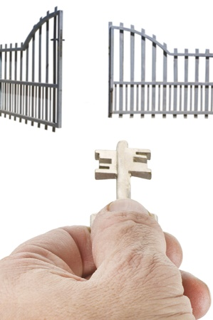 opening the gate with the key photo