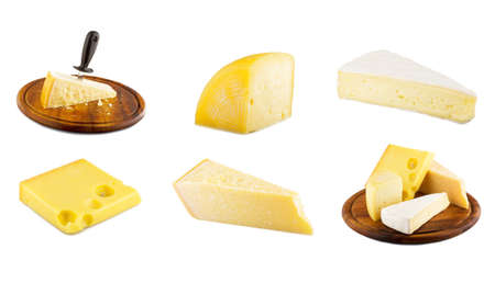collage of varius cheese on the white photo