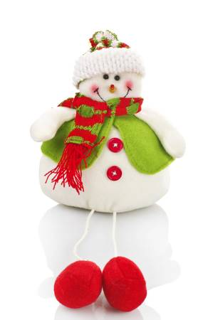 christmas wreaths: Snowman puppet on the white