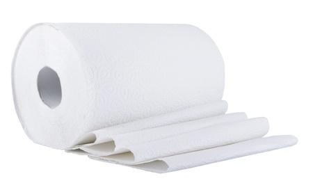 papel higienico: Rollo de papel en blanco Foto de archivo