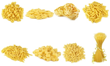 ribbon pasta: Pasta collage on the white
