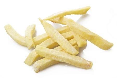 raw Chips stick close up on white photo