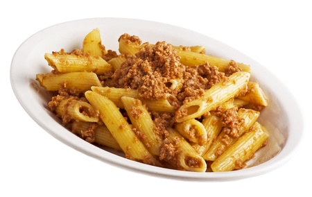 caciocavallo:  plate of fried macaroni with sauce and meat Stock Photo