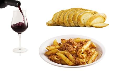 Italian food collage on white  photo