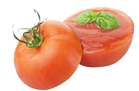 Tomato filled with sauce and basil photo