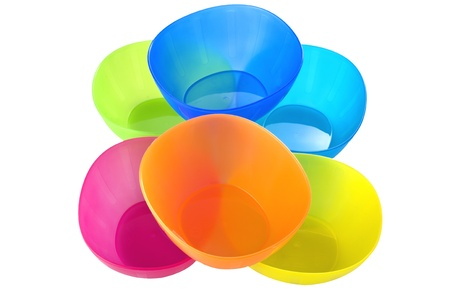 Plastic colore bowl on the white Stock Photo - 10621047