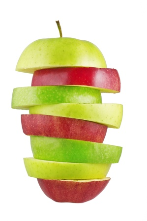 sliced  �  �  �  �: sliced apples isolated on white background   Stock Photo