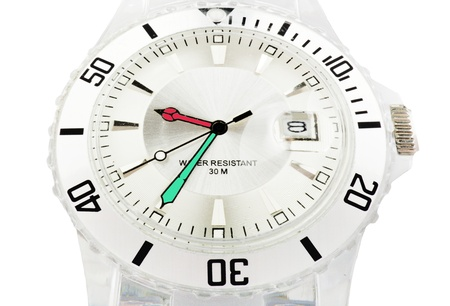 Close up transparent watch on white background 