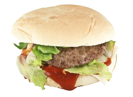 hamburger isolated on white. Fast food  photo