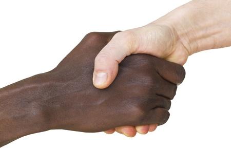 solidaridad: la solidaridad de la inmigraci�n de personas, apret�n de manos Foto de archivo