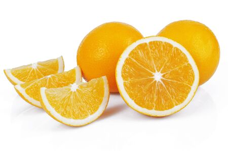 orange slice on the white