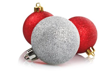 Christmas concept, balls on the white Stock Photo - 10596655