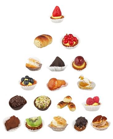 decoracion de pasteles: Primer plano de la torta de la taza varius sobre fondo blanco