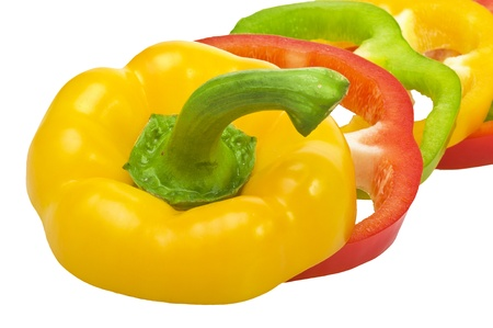 Raw colored pepper on the white Stock Photo - 10593585