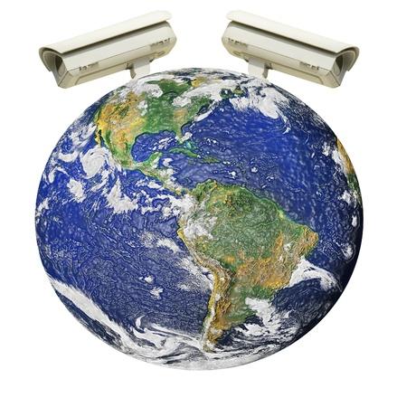 city surveillance: Camera controll on the world Stock Photo