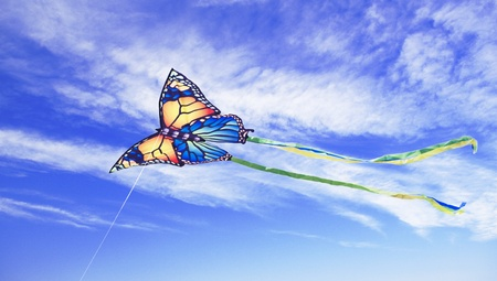 Kite against the blue sky.  Stock Photo