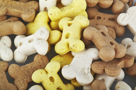 dog food: dog biscuits on the white Stock Photo