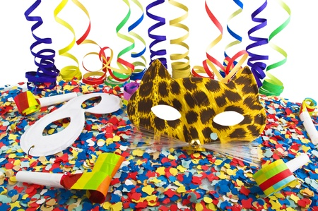 fasching: Carnival, celebration,party on the white Stock Photo