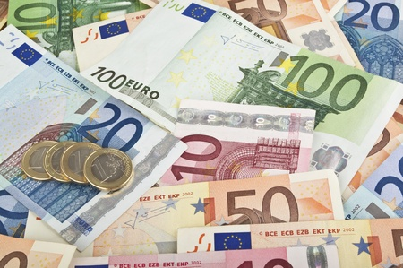 Close-up of Euro money