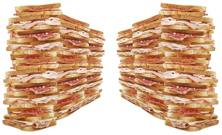 Pile of toast on the white photo
