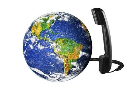 phone with Earth globe close up Stock Photo - 10625084