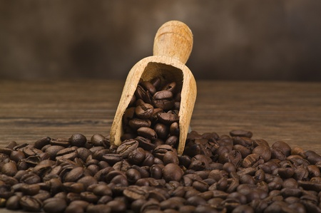 coffe beans close up on wood table photo