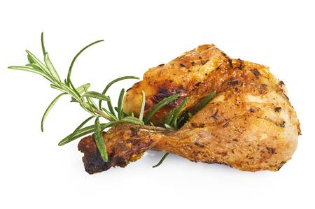 gril: roast chicken close up on white background