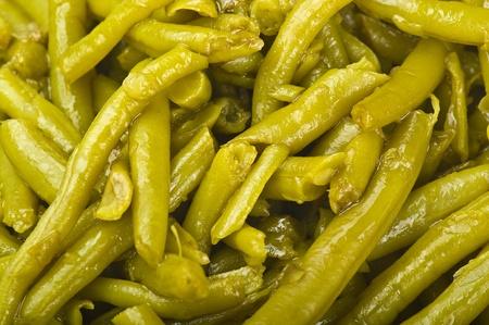 seasoned: green beans seasoned with olive oil close up