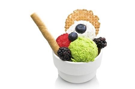 fruit ice cream close up on white background photo